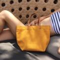 """:: กระเป๋าถือ (สีเหลือง) - ToteBag by Lapin :: กระเป๋าถือ ผ้าแคนวาส สีเหลือง Size: W13.5"""" x H10"""" xD5""""  #vintage #hipster #totebag #canvasbag #canvas #bag #leather #minimal #style #chic #fashion  #streetstyle #กระเป๋า #แคนวาส #women #กระเป๋าถือ #LapinDesigns"""