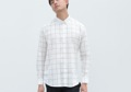 Now Available !  #GROUNDER  White -  checked grid linen shirt color: white  material : cotton linen fabric size : S , M , L   _