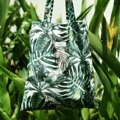 """Tropical green"" totebag totebag 14x16 inch canvas  line : moribag moribags.com"