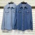 """New in!!!💓💓💓 Denim shirt  เชิ้ตยีนส์ หรือจะใส่เป็นแจ้กเก้ตก็ได้ ทรงเรียบ เท่ สไตล์เกาหลี ทรงสวย มีกระเป๋าหน้า ทำจากผ้ายีนส์เนื้อดี ผ้าเนื้อเบา นิ่ม ไม่หนามาก ใส่สบายมากค่ะ เป็นทรงสวย ใส่ได้ทุกโอกาส  2colors : Dark jean,Light jean (สียีนส์เข้ม,ยีนส์อ่อน)  Free Size: Bust (อก) 36"""" Length (ยาว) 26""""  Price: 450 baht"""
