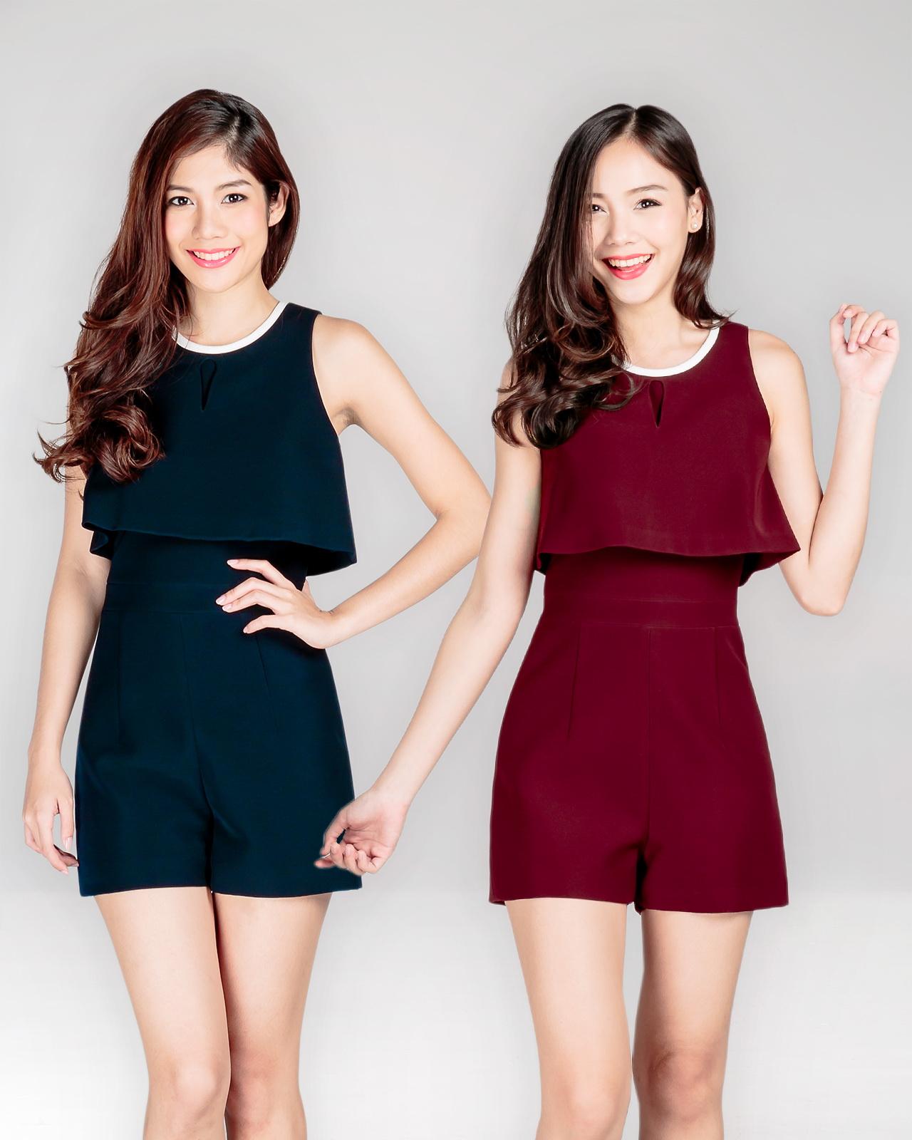 EL0105,เสื้อผ้าผู้หญิง,จั๊มสูท,จั๊มสูทขาสั้น,จั๊มสูทแขนกุด