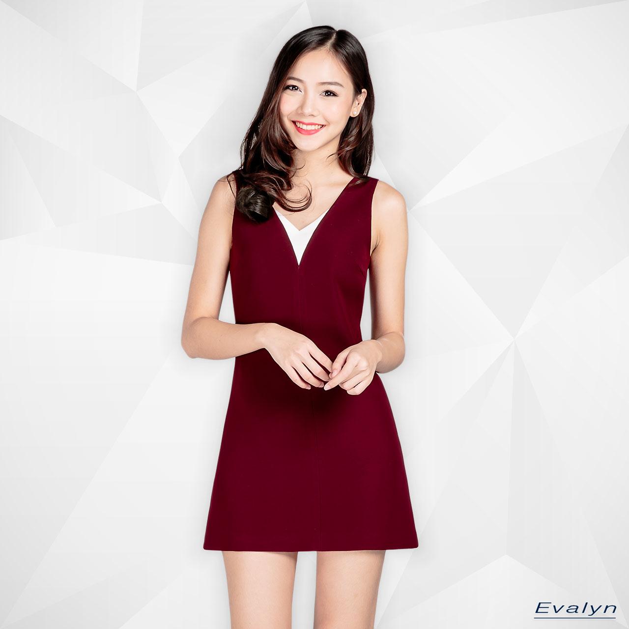 EL0101,เสื้อผ้าผู้หญิง,เดรส,เดรสสั้น,เดรสสั้นแขนกุด,เดรสแขนกุด