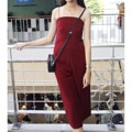Jumpsuit crimson Made to order. (รับตัดตามsize) Ss: 30/23/33 S: 32/24/34 M:33/26/35 L:34/27/37 Color: navy ,little pink ,black, crimson(เลือดหมู) Price: 850-. Line: arthiteye17 #ArthitayaBrand