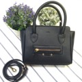 MB01 :: black ● Imported pu saffiano ● size : 18*16.2 cm ● shoulder strap     #Millybags