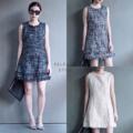 """New!!!!!!!  Sleeveless Tweed Dress  เสื้อเเขนกุดผ้าทวิส เย็บซัปด้านในทั้งตัว งานสวยมาก น่ารักค่ะ  สี เทา ดำ ครีม  Size : อก 36"""" เอว 32"""" สะโพก 42"""" ยาว 32""""     #chickkstyle"""