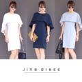 """ Jina  dress   ""  # งานตัด   Details : เดรสเข้ารูปเล็กน้อย ผ้าคอตตอนผสม ดีเทลคลุมไหล่ ใส่สุภาพ ทำให้ลุคดูหรู เย็บกลบซับในทั้งชุด  3 Colors : navy / grey / white   Size : S M L   S : B อก 36""/ W เอว 28""/H สะโพก 36""/L ยาว 35""/Arm วงแขน 19""  M : B อก 38""/ W เอว 30""/H สะโพก 38""/L ยาว35""/วงแขน 19""  L : B อก 40""/ W เอว 32""/H สะโพก 40""/L ยาว 36""/Arm วงแขน 19""   #chickkstyle"