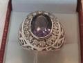 แหวนพลอยอเมทิสสีม่วงอมชมพูอเมทิสบราซิลสวยงามงานละเดียด ขนาด 60