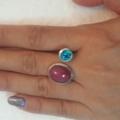 แหวนพลอยแท้ พลอยรูบี้และลอนดอนบลูโทพาซ เรือนเงินขนาด56