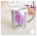 Ceramic Mug - Lilac แก้วเซรามิค LANG Lilac ลายดอกไลแลคสีม่วง ด้ามจับสีเขียว  Size : สูง 10 cm. เส้นผ่านศูนย์กลาง 8.5 cm. Weight : 415 g. Price : 450 บาท