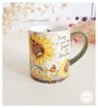 Ceramic Mug - Sunflowers แก้วเซรามิค LANG Sunflowers ลายดอกทานตะวันสีเหลือง ด้ามจับสีเขียว  Size : สูง 10 cm. เส้นผ่านศูนย์กลาง 8.5 cm. Weight : 423 g. Price : 450 บาท