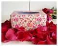 กล่องทิชชู่ลายดอกกุหลาบสีแดง พื้นสีเขียว งานสังกะสี Size : กว้าง 10 cm. ยาว 17 cm. สูง 9.5 cm. Weight : 182 g. Price : 270 บาท
