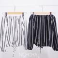 "BW stripe off shoulder top เสื้อปาดไหล่แขนจั๊ม ตรงเอวสามารถรูดผูกเชือกให้เข้ารูปได้อีกนะค้า มีสองสี ขาว/ดำค่ะ  Color : ดำ/ขาว Size : อกยืดถึง38"" ยาว15"" Price : 450 บาท Line : nzsyrup #NICHCHA"
