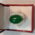 Neprite gemstone ring size 60 with silver 925 in the soft price.