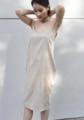 "Small strip loose knee dress come with pearl Choker. Fabric imported from Japan.  ---------------------------------------------------------- ชุดเดรสสายเดี่ยวสีน้ำตาลอ่อน มาพร้อมกับโช้คเกอร์เข้าชุด. ผ้านำเข้าจากญี่ปุ่น นุ่มใส่สบายมากๆ ไม่ร้อน ใส่ชิลๆ วันสบายๆ คอไม่เว้าลึกเกินไป ใส่แล้วไม่โป๊คะ 😁  **Size Available S: Chest 32"" l Waist (Free size) l Hip 38"" l Length  40"" M: Chest 34"" l Waist (Free size) l Hip 40"" l Length  41"" L: Chest 36"" l Waist (Free size) l Hip 42"" l Length  42"""