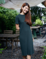 Kiri Dress . เดรสผ้ายืดคอกลมแขนสั้น เนื้อผ้าใส่สบายมากค่า ไม่ฟิตน้า ☺️ . Color: Green Size: Free size Price: 890THB