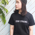Stay strong cotton black shirt  Size : S, M, L , and XL available Price: 200 baht!