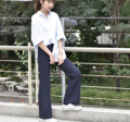 Pants - High-waisted bootcut [Dark Navy] color : dark navy  size : s m l Price : 890 THB