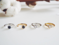 Promise ring. Gemstone Black quartz, White quartz Available in Silver, Gold plated
