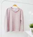 เสื้อ Sweater : เสื้อแขนยาว ผ้าฟรุ้งฟริ้งตุ่มหิมะ สี ชมพู (free size รอบอก 40-45)