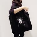 NOFACE BEAR, from Spirited A Bear series  Embroidery tote bag with zipper. Material: Black jeans with embroidery pattern  Scale : 39.5x47 cm  (not include straps)