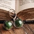 "Glass globe earrings with real dried moss. The earrings are with hypoallergenic stainless steel base for sensitive ears.  MEASUREMENT:  * The diameter of the glass orbs is 0.47"" / 14 mm."