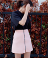 "Our new collection Zipped Skirt color peach 🍑 กระโปรงทรงเอสีพีชตัวนี้ เป็นสีชมพูอมส้มนะคะ ในรูปเป็นแสงธรรมชาติสีกระโปรงจะออกไปทางชมพูค่า   Zipped Skirt Now ready to serve❤️ Color : Peach Price : 1190 THB Size : S/M/L Lenght 16"" . S waist 24-26"" ,hip 34-36"" M waist 27-28"", hip 37-38"" L bust 29-30"", hip 39-40""  ---------------------------------------------------- #pkstzippedskirt #women #ผู้หญิง #เสื้อผ้าผู้หญิง #กระโปรง #กระโปรงสั้น"