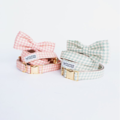 Handcrafted dog collar bowtie sets. Durable Nylon, High Quality Fabric.  Materials: - Metal (Zinc) - Fabric (Cotton, Canvas, Etc)  Collar Sizes  - Extra Small: (1cm. width)....................7-11 inches  - Small: (1cm or 1.8cm width)............................. 10-14 inches  - Medium: (1.8cm or 1 inch width)............................13-20 inches  - Large: (1 inch width)...............................16-25 inches  - Extra Large: (1 inch width).....................20-31 inches  The bowtie simply attaches with an elastic loop so that you can position it at any point on your pup's collar or remove it entirely! And when the collar needs a good scrubbing, simply remove the bow tie and pop the collar in the wash.