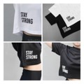 """:: เสื้อครอปแขนสั้น - Stay Strong Crop Top ::  STAY STRONG  BETTER DAY ARE COMING !  New Arrivals!!!! 🚩🚩🚩🚩🚩🚩🚩 เสื้อครอปแขนสั้น แบบเอวลอยนิดๆ สำหรับใส่คลุมสปอร์ตบรา หรือจะ Mix & Match กับยีนส์เอวสูงก็เก๋มากค่ะ ผ้าตาข่ายใส่เบาสบาย ไม่ระคายผิว  Price 390 B  Black ⚫️ / White ⚪️ เลือกไม่ถูก ก็จัดแบบ DUO ไปเลย 2 ตัว ในราคา 700 บาท ค่าาาา *Free ems ทุกรายการ*  Only """" FREE SIZE """" 🚩🚩🚩 คอกว้าง 17 ซม คอลึก 8 ซม ยาว( จากไหล่ ) 42 ซม ยาว ( จากคอ ) 34.5 ซม ความกว้างไหล่  49 ซม ** อก 29-38 นิ้ว ** รุ่นนี้จะ Oversized ตัวหลวมๆ ใส่สบายๆ นะคะ ใส่กับเอวสูงน่ารักมากก กับยีนส์ก็เก๋ได้ลุคสบายๆ   .................................... ชุดออกกำลังกาย ชุดออกกำลังกายผู้หญิง ชุดออกกำลังกาย ชุดออกกำลังกาย กางเกงออกกำลังกาย เสื้อออกกำลังกาย ....................................  #sportwear #blackwhite #gymaholic  #streetwear #fitfeel #fitfeeltheactivewear #FitFeelTheActiveWear"""
