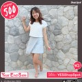NEW IN🌨 #HWsonnet skirt in skyblue สีฟ้านมๆละมุนๆสำหรับสาวๆสายพาสเทลค่าา น่ารักมากๆ จำนวนจำกัดน้าา . Irene top - available in Offwhite - free size (Chest 38 length 16 inner chiffon length 21)  Sonnet skirt - available in Charcoal grey/sky blue S : waist 25 hip 35 length 17 M : waist 27 hip 37 length 17 . Line: @heartwearstudio (with@) #HeartwearStudio