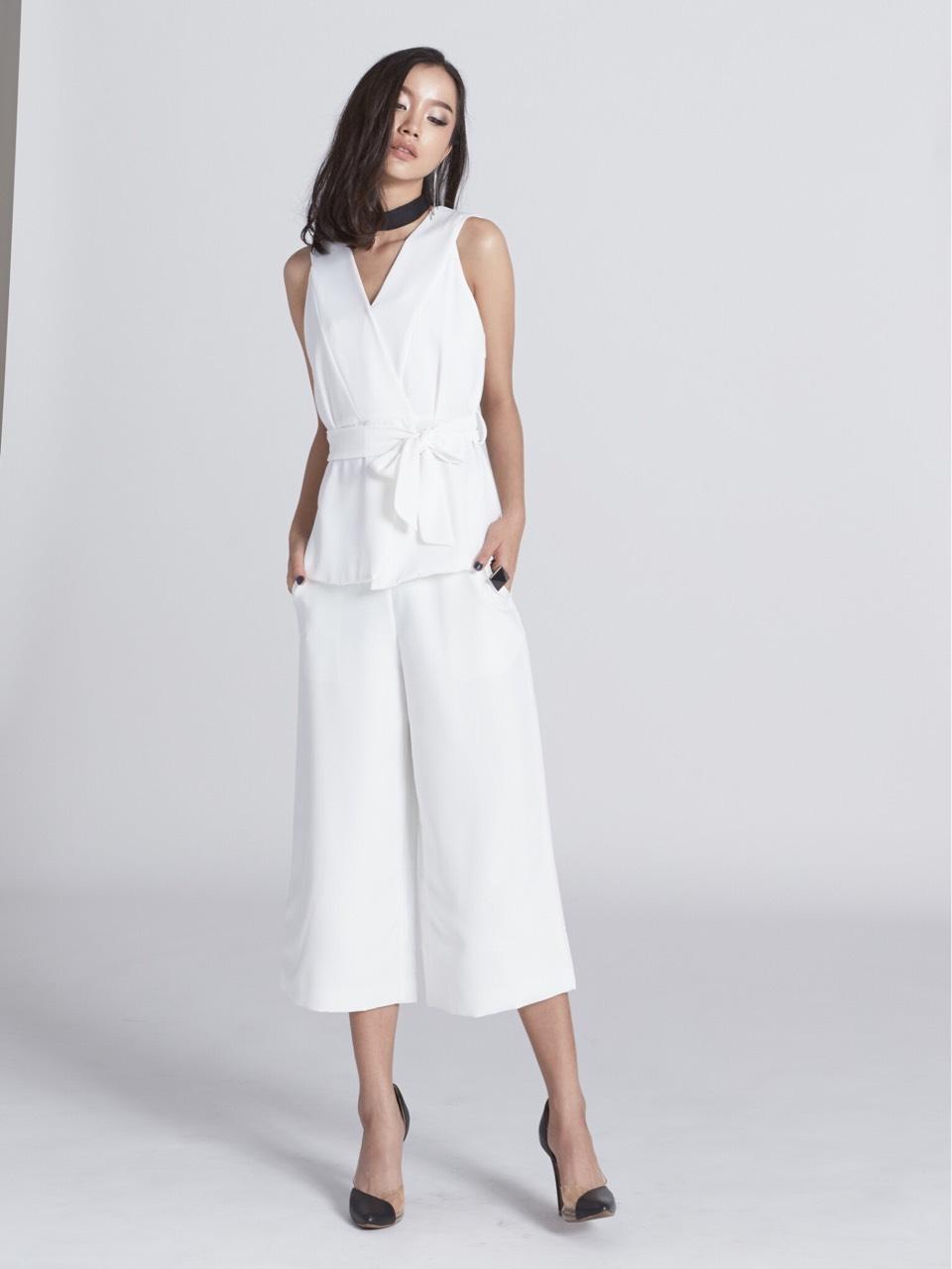 MoodandTone,ผู้หญิง,Women,กางเกงขายาว,กางเกงขายาวผู้หญิง,pants,กางเกงสีพื้น,กางเกงสีขาว,กางเกงสีชมพู