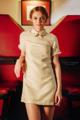 เดรสสีเหลืองอ่อน จากผ้าทอชาแนล คุณภาพ Premium เนื้อทอด้วยไหมสีขาว-เหลือง-ทอง แต่งลูกไม้หัวใจ งานเย็บเนี๊ยบ  บนปกตกแต่งงานปัก Crystal สีเหลืองคัดพิเศษ และ เข็มกลัด Crystal รอยจูบระยิบระยับ เพิ่มความ Cute & Chic ไม่น้อยเลย  ✦ Size : S, M, L