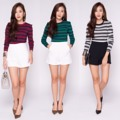 "A m e r i c a n   D r e a m   T o p Premium  เสื้อผ้า knit แน่น ทอลายขวาง ไม่ร้อน เนื้อผ้าสวยหรูมากๆค่ะ  ควรมีติดตู้ค่ะ classic สุดๆค่ะ  3 colors: White, Green and Red  One Size  รอบอก     : 28"" ยืดได้ถึง 40"" วงแขน     : 16"" ความยาว : 21""  #chickkstyle"