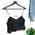 """BENEDICT CAMISOLE (450thb) Size : bust 32""""-34"""" length 18"""" เสื้อสายเดี่ยวสีดำแต่งระบาย เนื้อผ้าสวยดูแพง ซิปซ่อนข้างสวมง่าย ตัวนี้แพทเทิร์นเก๋ งานตัดเย็บอย่างดี แมทช์กับกางเกง/กระโปรงได้หลายแบบ - - - - - - - - - - - - - - - - - - # ภาพของทางร้านถ่ายเองทั้งหมดจากสินค้าจริง  #Brownish"""