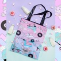 "💕🚗🍿50's diner tote bag💕🚗🍿 💕💕💕💕14""x17"" 🚗🚗🚗🚗back&strap -black  metalic 🍿🍿🍿🍿#PRANKYPLAY"