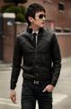 พร้อมส่ง  เสื้อแจ็คเก็ตแฟชั่น แจ็คเก็ตหนัง PU ผู้ชาย สีดำ แขนยาว ซิปหน้าเต็มตัว ด้านหลังมีช่องระบายอากาศ ใส่เที่ยว ใส่ทำงาน แบบเท่ห์  ขนาด  :    Size  M   รอบอก 88 ซม.                   Size  L    รอบอก 92 ซม.                   Size  XL  รอบอก 96 ซม.                 Size  XXL  รอบอก 100 ซม.  รหัสสินค้า :EG13
