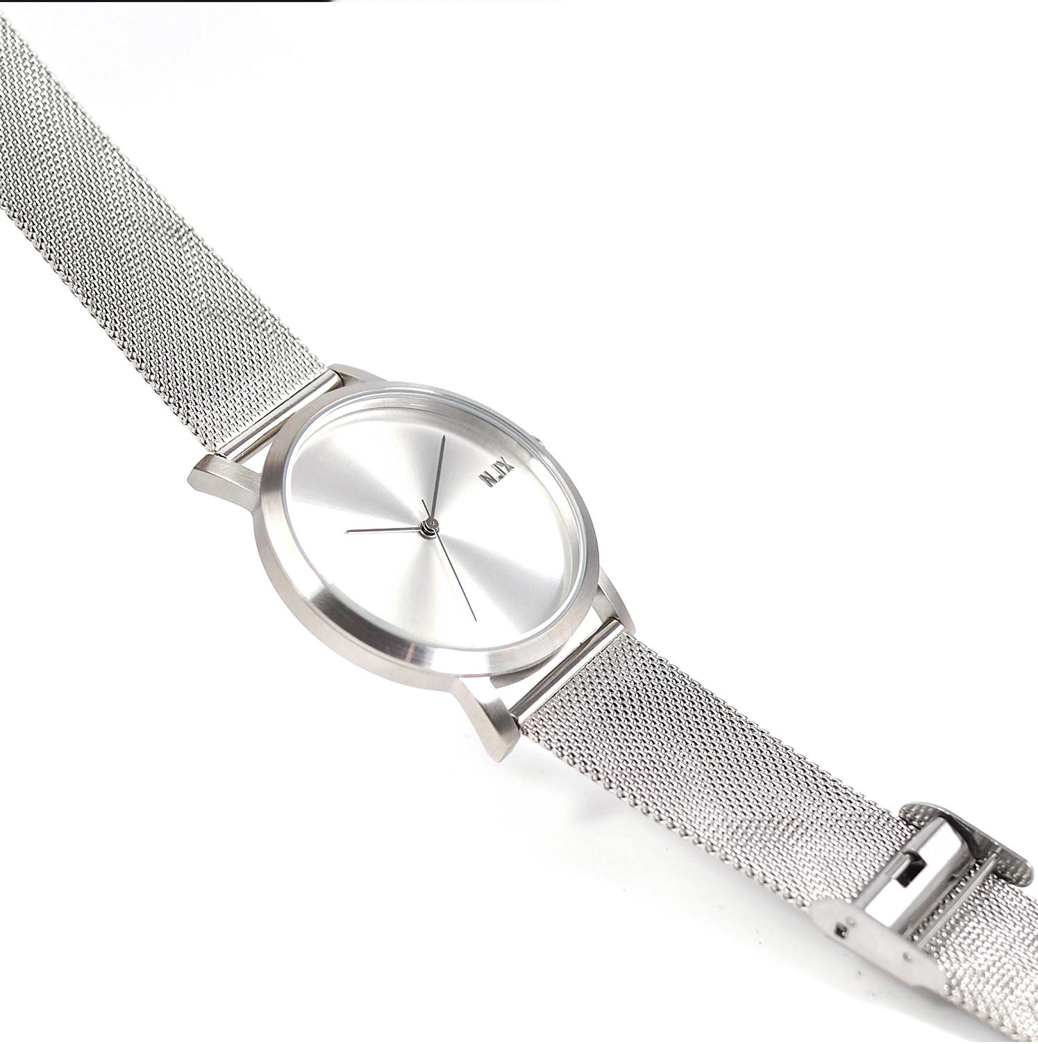 ฟรีจัดส่ง,NIXwatch,NIXstudio,MetalProject,Minimalwatches,stainless,mesh,Unisex,gift,Metallic,present,silver
