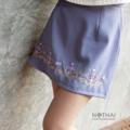 "Product details Design by Thai, at Thai, Nathai.  Inspiration from 'Thai Textlie'  ❖ ๓ rd NAGA collection ❖  'นาค'  ▪ Skirt ▪  Detail : Embroidery, Japan Moscrepe Fabric / กระโปรงลายปัก ผ้ามอสเครปณี่ปุ่นเนื้อดี มีซับใน และซิปหลัง Color : Tropical sea  S size : waist 26"", hip 36"", length 15"" M size : waist 28"", hip 38"", length 15"" L size : waist 30"", hip 40"", length 15"" Price : 690 Baht  - FREE SHIPPING. ALL ITEM -.  ---------------------------------------------------- #women #ผู้หญิง #กระโปรง #กระโปรงสั้น"