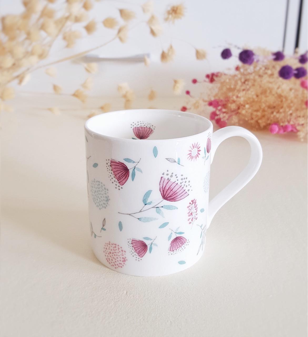 ceramic,mug,cup,homedecor,floral,banchulee,แก้ว,เซรามิค,zakka,shabbychic,bonechina,BanChulee