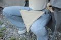 Chimaki bag Fabric bag with simple geometric design dimension: L 30(bottom) x H 28 x D 28 m.  ชิมากิเป็นกระเป๋าถือทำจากผ้าได้รับ แรงบัลดาลใจมาจากทรงข้าวปั้นญี่ปุ่น ด้วยการออกแบบทรงฐานสามเหลี่ยมที่ค่อนข้างกว้างทำให้กระเป๋าเป็นทรงแข็งแรงวางตั้ง ได้ไม่ล้ม ผ้าเนื้อมันเงาอยู่ทรงแข็งแรง ถือง่ายใช้ได้ทั้งผู้หญิงและผู้ชาย  มีจุดเด่นคือเป็นได้ทั้งกระเป๋าถือและกระเป๋าสะพาย ซึ่งสายคล้องสามารถเกี่ยวเก็บได้ไม่เกะกะ และยังสามารถปรับขนาดได้ด้วยเทคนิคเฉพาะที่ไม่เหมือนใคร ด้านในมีกระเป๋าเล็กๆสำหรับจัดระเบียบโทรศัพท์หรือของใช้จุกจิกให้เป็น สัดส่วน  สามารถถือใช้ได้ 3 แบบ