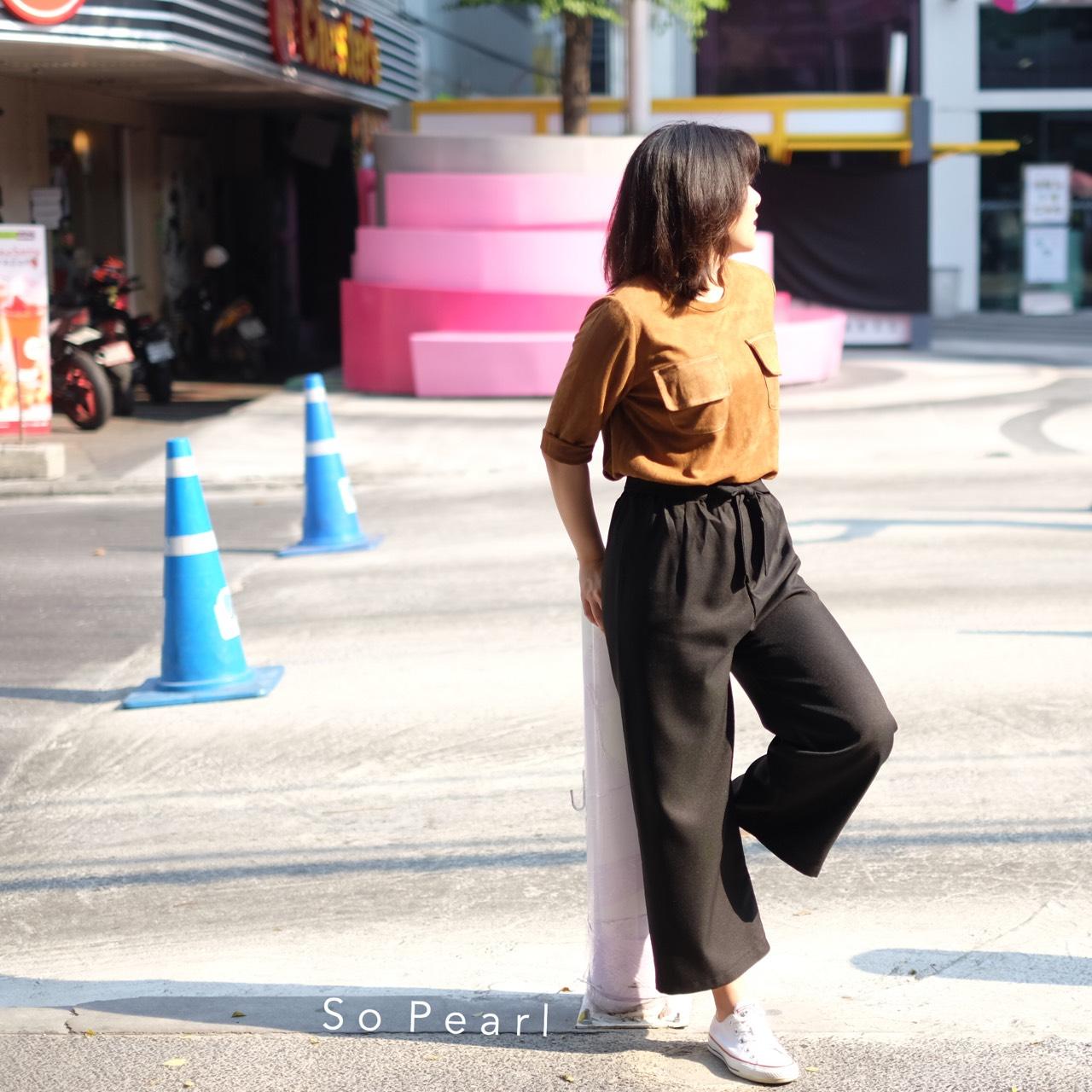 SoPearlCloset,women,ผู้หญิง,เสื้อผ้าผู้หญิง,กางเกง,กางเกงผู้หญิง,กางเกงขายาว,กางเกงห้าส่วน,กางเกงสีดำ