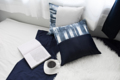 ปลอกหมอนสีน้ำเงิน-กรม • ขนาด 16 x 16 นิ้ว • วัสดุทำจากผ้าซิลซาตินและดัชเชดซาตินอย่างดี • เมื่อซื้อเป็นเซ็ท 5 ชิ้น รับ special gift ฟรีทันที !!  Pillow Covers • Ocean blue Color • 16 × 16 inches • Materials : Spanish Silk / Duchess Satin • Buy 5 get a special gift FREE! ***