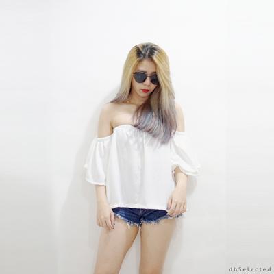 Summer,dbselected,dbSelected,เสื้อปาดไหล่,เสื้อปาดไหล่สีขาว,เสื้อสีขาว,เสื้อปาดไหล่แขนสั้น,เสื้อปาดไหล่ปล่อยชาย
