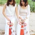 กางเกงยีนส์ขายาว - Girl talk Color: White Size: M, L  #Hawthornbrand