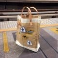 กระเป๋าผ้า - Totebag :: Material :: เนื้อผ้า : Sack cloth สายหนังแท้ (หนังวัวฟอกฝาด) ซับในสปันปอนด์ ขนาด : สูง 48 ซม. กว้าง 35 ซม.  ราคา : 790 บาท                                                     #Totebag #pomakkarapol15983 #กระเป๋าผ้า #กระเป๋าถือ