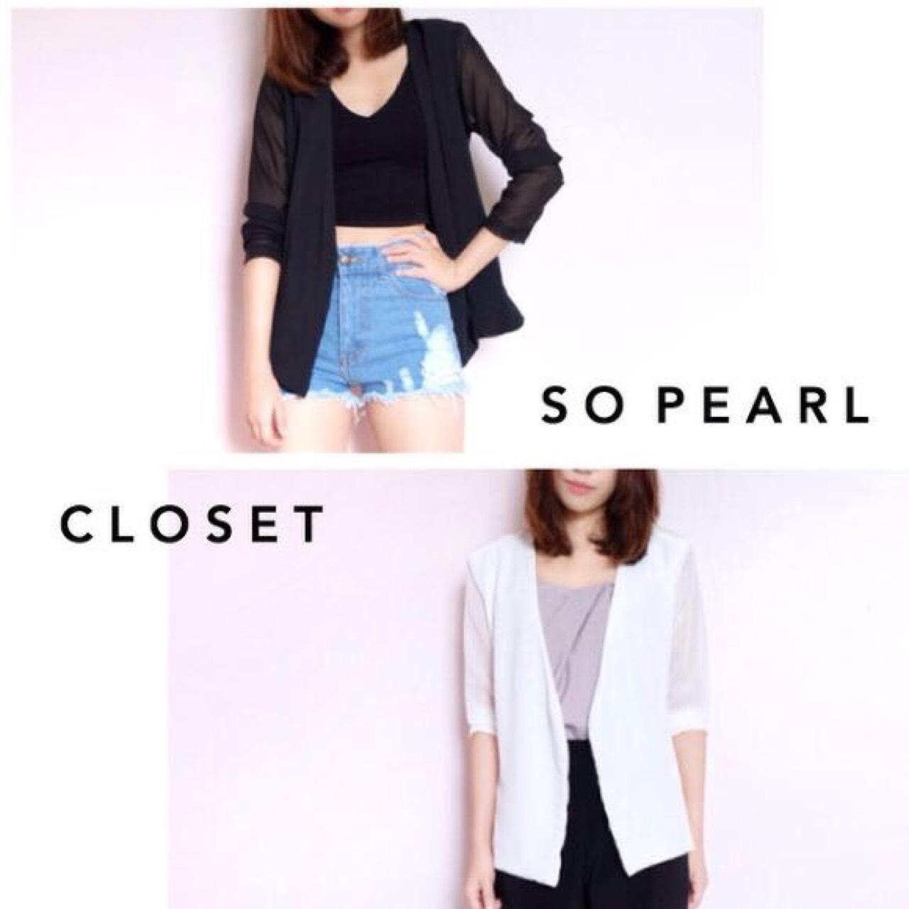 SoPearlCloset,SPcasualblazer,ผู้หญิง,women,เสื้อคลุม,เสื้อคลุมแขนยาว,เสื้อคลุมสีขาว