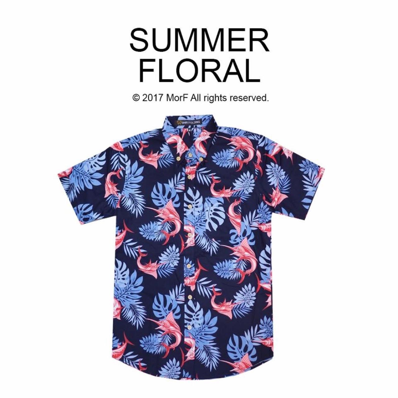 เสื้อเชิ้ต,เสื้อเชิ้ตแขนสั้น,วินเทจ,vintage,hawaii,เสื้อฮาวาย,เสื้อลายดอก,ทะเล,summer,สงกรานต์,MorfClothes