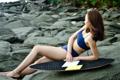 """:: ชุดว่ายน้ำผู้หญิง - Double crossback - [Navy] :: Minimal swimwear that you'll love with best quality and reasonable price. Every pieces are design by the designer. We use high quality textile that are UV protected and every swimwear come with bra pads inside.  ชุดว่ายน้ำมินิมอล (minimal) เรียบหรู ราคาพอดี คุณภาพดีเยี่ยม ออกแบบโดยนักออกแบบ (designer) ฝีมือดี ใช้ผ้าสำหรับชุดว่ายน้ำโดยเฉพาะ กันยูวี มีซับในทุกตัว พร้อมฟองน้ำรับทรงในตัว เราตั้งใจผลิตเย็บอย่างดีทุกชิ้นเพื่อลูกค้าทุกท่าน 😊 ไม่แน่ใจปรึกษาเรื่อง size ก่อนสั่งซื้อได้ที่ Ark to seller นะคะ -------------------------------------------------------------- High quality cutting swimwear Thailand. Double crossback  color : Navy. size in: s m l material : 80% nylon 20% lycra -------------------------------------------------------------- **SIZE CHART** Size S: Bust 29.5""""-31.5"""" l Waist 26"""" l Hip 32""""-33.5"""" Size M: Bust 31""""-32.5"""" l Waist 28"""" l Hip 34""""-36.5"""" Size L: Bust 33""""-34.5"""" l Waist 30"""" l Hip 36.5""""-39"""""""