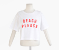 """เสื้อ Crop : Cotton 100% สกรีนลาย  """"Beach Please""""  #ผู้หญิง #เสื้อผู้หญิง #women #croptop #crop #tshirt #เสื้อยืด #เสื้อยืดสีขาว"""