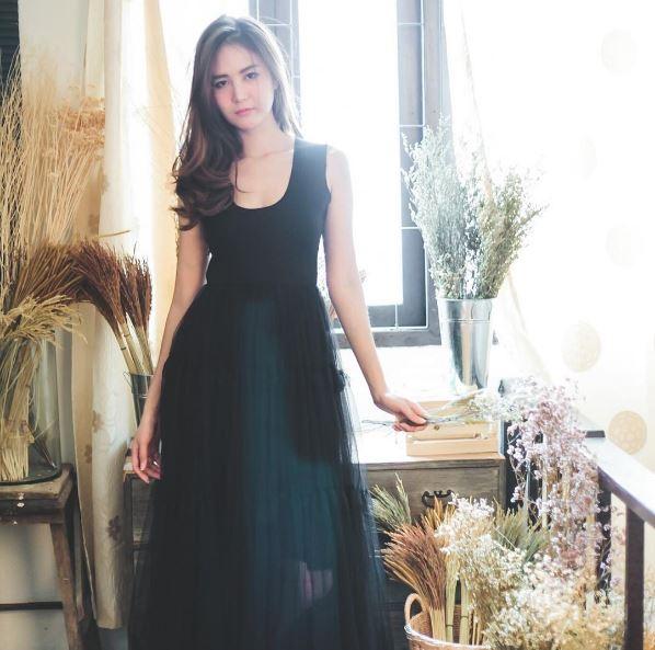 ถ่ายจากสินค้าจริงทุกตัว,nous,women,dress,ผู้หญิง,เสื้อผ้าผู้หญิง,เดรส,เดรสแขนกุด,เดรสกระโปรงยาว,เดรสสีดำ,เดรสสีส้มอิฐ