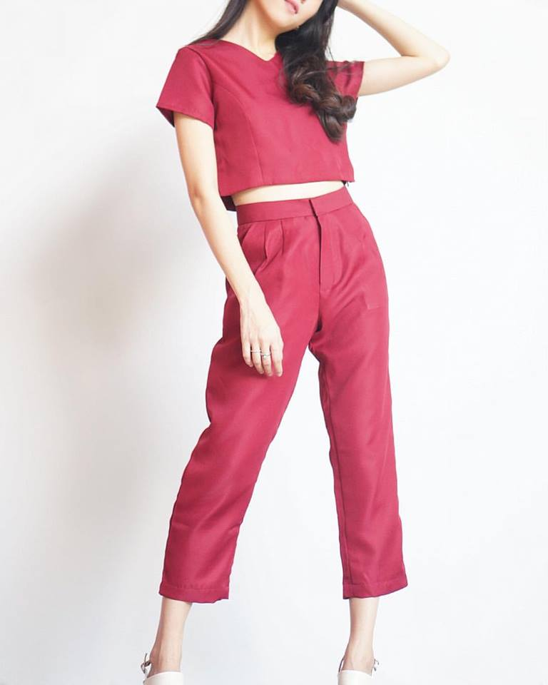PittaClothing,women,ผู้หญิง,เสื้อผ้าผู้หญิง,กางเกง,กางเกงผู้หญิง,กางเกงขายาว,กางเกงขายาวผู้หญิง,กางเกงสีแดง